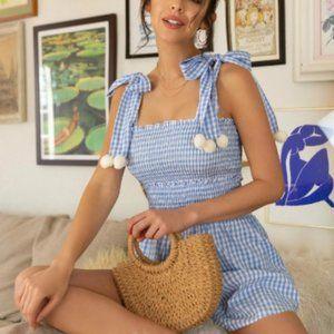 Pompom Detail Knot Shoulder Shirred Bodice Gingham